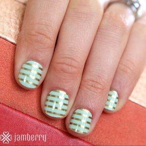 Jamberry Mint Green & Horizontal Pinstripe New